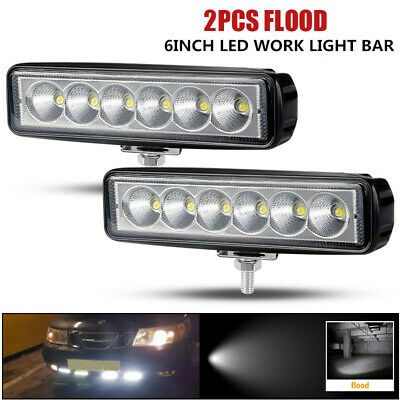 2X 6 Inch LED Work Light Bar Single Row Pods SPOT Off Road Truck Tractor 12V 24V