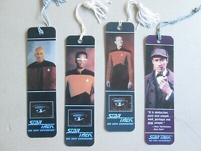 Star Trek The Next Generation book marks x4 Picard Data Geordie La Forge VGC!