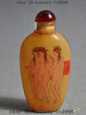 Collect China Glass Colored glaze Inside Painting Art statue Snuff bottle