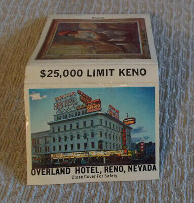 OVERLAND HOTEL/CASINO UNUSED matchbook ~ VINTAGE ~ Reno, NV