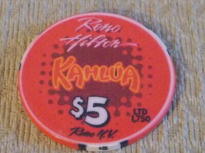 RENO HILTON CASINO/HOTEL $5 hotel casino gaming poker chip (LTD 1750)~ Reno, NV