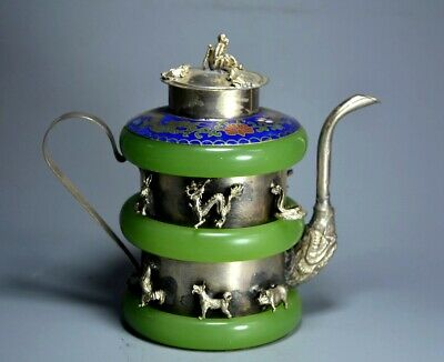 Collect Old Tibet Silver & Cloisonne Lnlay Jade Hand-Carved Precious Wine Pot