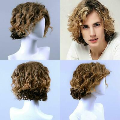 Fashion Men Gold Blonde Curly Wavy Short Hair Synthetic Hair Full Wig