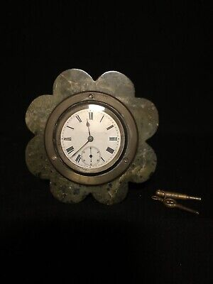 Marble And Solid Silver Fine Quality English Bedside Mantel Desk Clock English