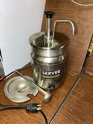 Stainless Steel Server Product Warmer With Pump, Insert, Ladle And Lid