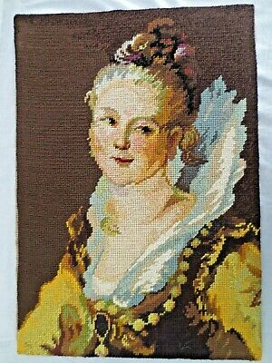 Craft Picture Tapestry  Victorian Lady Completed On Backing
