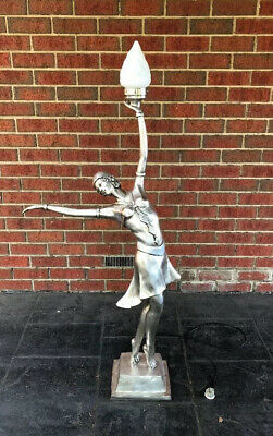 Art Deco Style Dancing Lady Lamp With Flame Shade 145cm Tall (Reproduction)