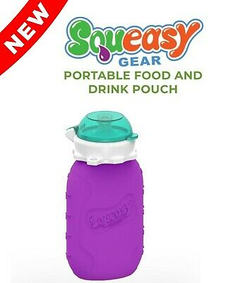 Purple 6 oz Squeasy Snacker Spill Proof Silicone Reusable Food Pouch