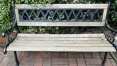 Cast Iron and Timber Garden Bench Seat Excellent Condition