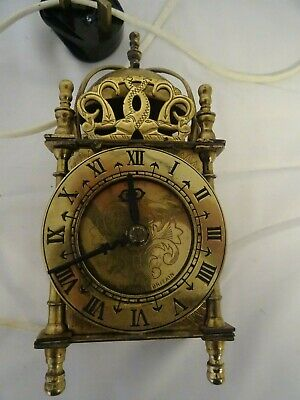 Vintage (rewired and tested) electric brass lantern carriage clock by Smiths