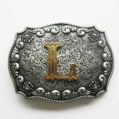 Western Men's Zinc alloy Leather Belt Buckle Cowboy Letter L shape Pattern