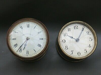2 antique or vintage clock movements dials hands & barrels - spares or parts