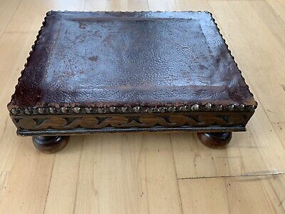 Antique Prayer Stool Low Leather Top Carved Wood Studded Detail Victorian