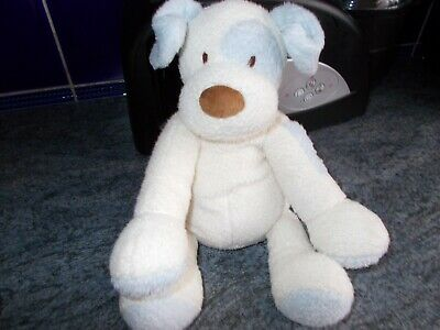 look fab mothercare cream / blue first puppy dog soft toy /  baby comforter