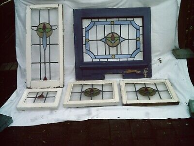 Five Antique Vintage 1930's Stained Glass Leaded Light Windows In Wood Frames