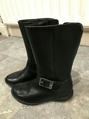 Clarks Black Boots size 11F Girls Worn ONCE