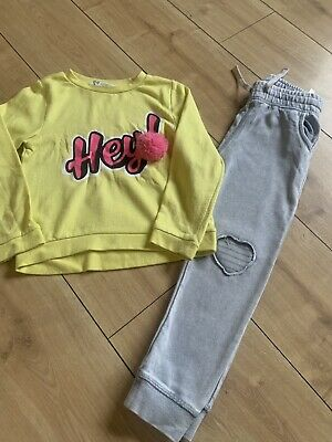Girls H&m Outfit Set Age 4-6 Tracksuit - Slim Style Joggers And Sweatshirt