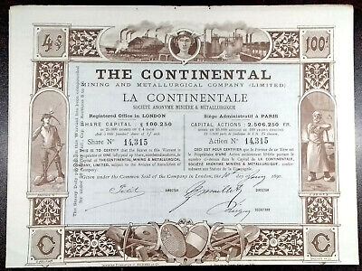 The Continental Londres / París la Continental - 1890-1 Action / Bond