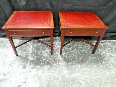 Regency Style Pair of Mahogany & Leather Top Lamp Side Tables