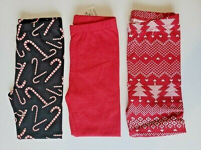Lot 3 Stretch Leggings The Children's Place TCP Girls 4T Pants Holiday NWT