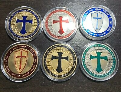 Silver Plated Masonic Knights Templar Europe Red Cross Commemorative Coin Token
