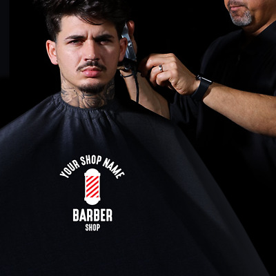 Barbers Sign- We Customise Barber Shop Gowns We Print Your Shop Name Onto Capes
