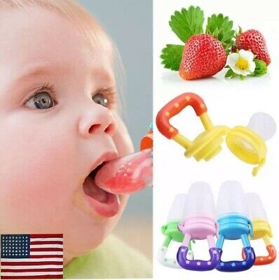 Baby 4Pack Food Feeders Teething Toy Pacifier Fresh Fruit Silicone Pouch Nipple
