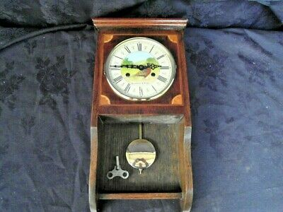 Vintage Oak Inlaid Wall Clock Hand Painted Dial By Buckthorpe & Knight