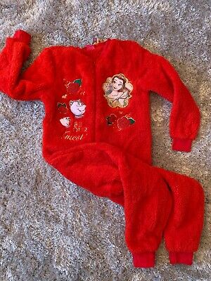 Matalan Red Fleece All In One Pyjamas Belle Age 9