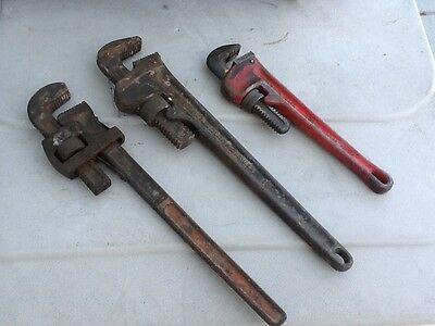 "3Pipe wrenches,Crescent,Ridgid,Stillsontwo18""+12"""