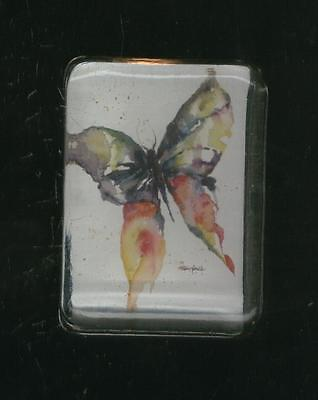 Vintage!  Beautiful Very Colorful Art Crystal White Glass Butterfly Paperweight!