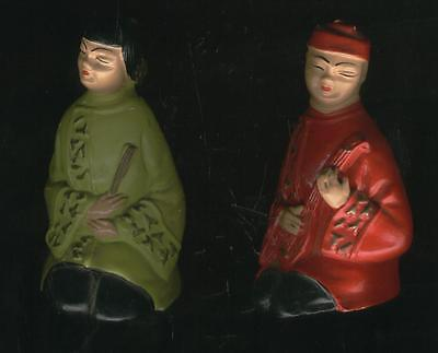 Two Beautiful Asian Oriental Statues Figurines Vintage Man Guy & Woman Lady RARE