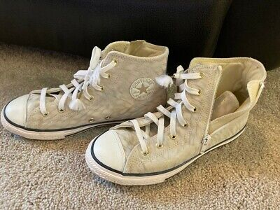 Converse high tops white and gold