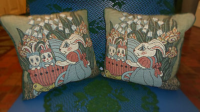 Easter Decor Bunny Rabbit Throw Pillow 2-Tapestry Front Cotton Back 12x12