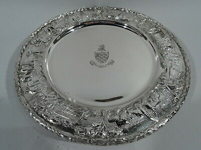 Kirk Plates - 38L - Antique Landscape Dinner Chargers - American Sterling Silver