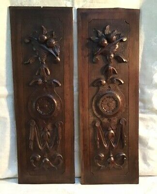DECORATIVE PAIR ANTIQUE FRENCH CARVED WOOD WALL PANELS  c1890