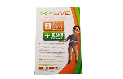 XBOX LIVE 1 MONTH GOLD SUBSCRIPTION CARD + 480MS Points FOR XBOX 360