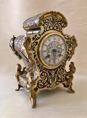 Rare French Louis XV Style Boulle Clock with Abalone Inlay.
