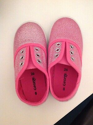 Girls Infant Size 8 (26) Pink Laceless Trainers BNWOT