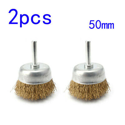 2pcs Metal Wire Wheel Cup Brush Crimped W/1/4 Shank For Die Grinder Drill Sale