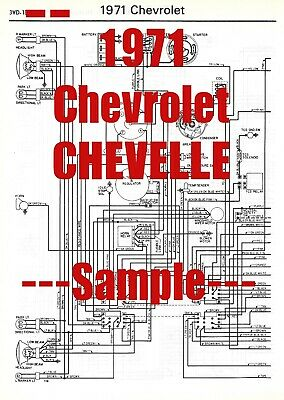 1971 Chevrolet Chevelle  Full Car Wiring Diagram *High Quality Printed Copy*