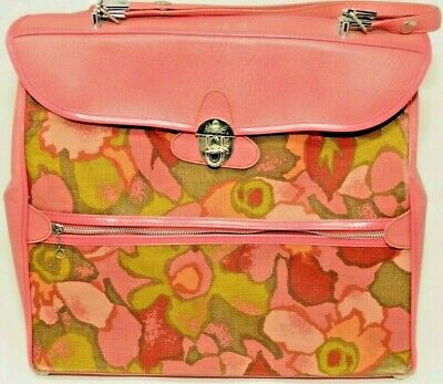 Vintage Pink Purse Ventura Travelware Luggage Handbag 1960's Carry On Floral