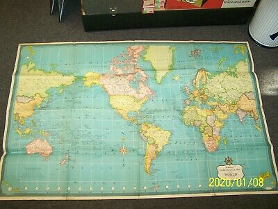 Vintage Hammond's International Map Of The World On Mercator's Projection