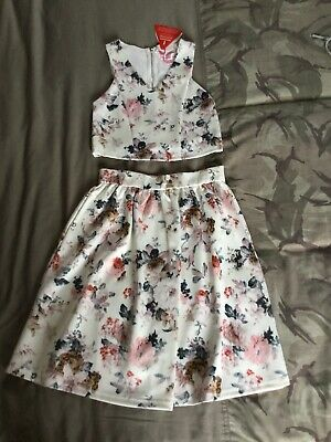 Girls Matching Top And Skirt Aged 11-12 Years, Bnwts, Cream Flower Pattern