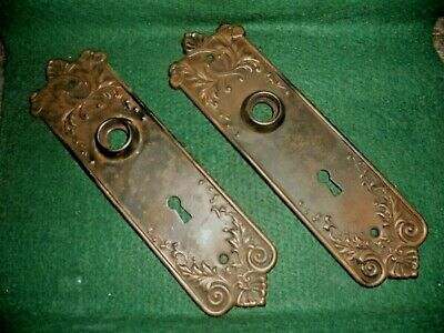 VTG PAIR OLD Victorian RUSTIC FANCY ORNATE Nice Aged Patina BackPlates BARN FIND