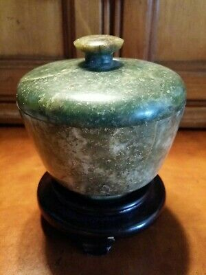 "Small Covered ""Jade Bowl"" Magnificent Color And ""Rare"""
