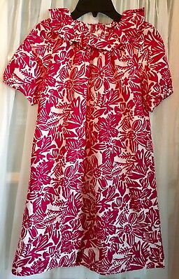 J. Crew Crewcuts Girls Size 12 Ruffle-Neck Dress in Tropical Floral Wild Fuchsia