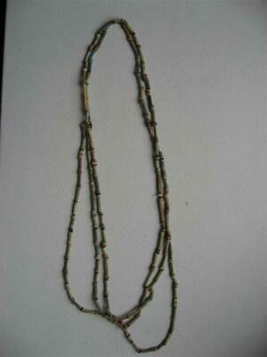 Three Strand Ancient Faience Egyptian Mummy Bead Necklace Authentic Restrung