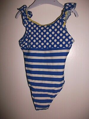 Girls Blue & White Striped & Spots Swimsuit - Age 3-4 y/o