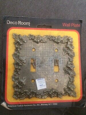 Vintage American Tack & Hardware Deco Room Wall Plate Double Switch Plate nos